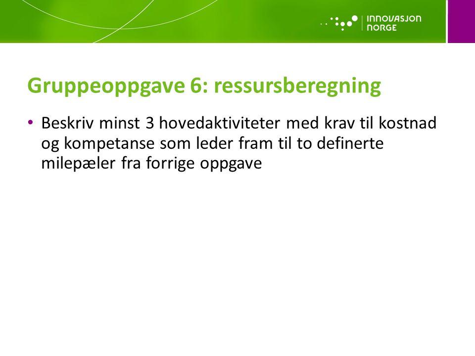 Gruppeoppgave 6: ressursberegning