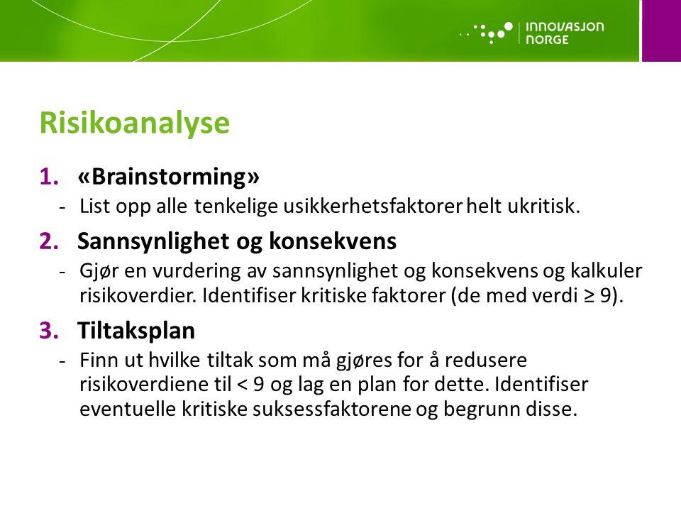 Risikoanalyse «Brainstorming» Sannsynlighet og konsekvens Tiltaksplan