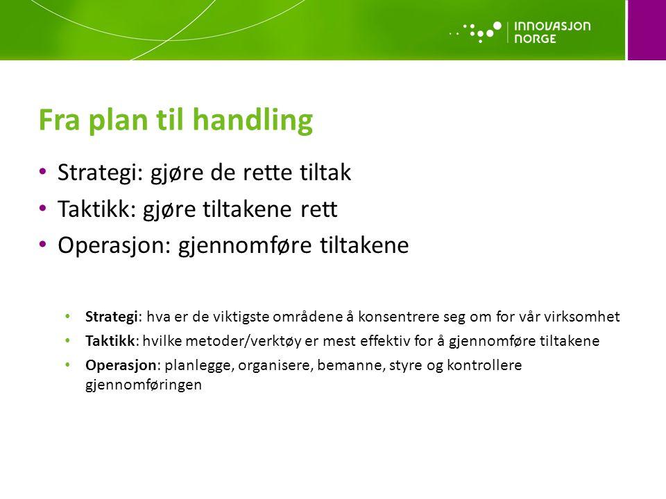 Fra plan til handling Strategi: gjøre de rette tiltak