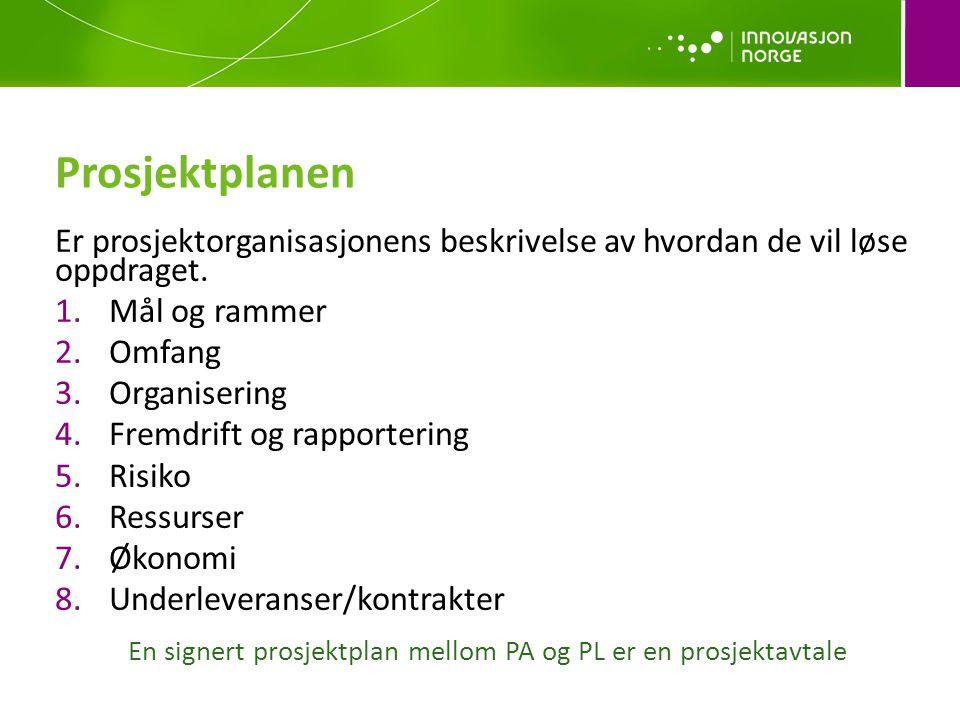En signert prosjektplan mellom PA og PL er en prosjektavtale