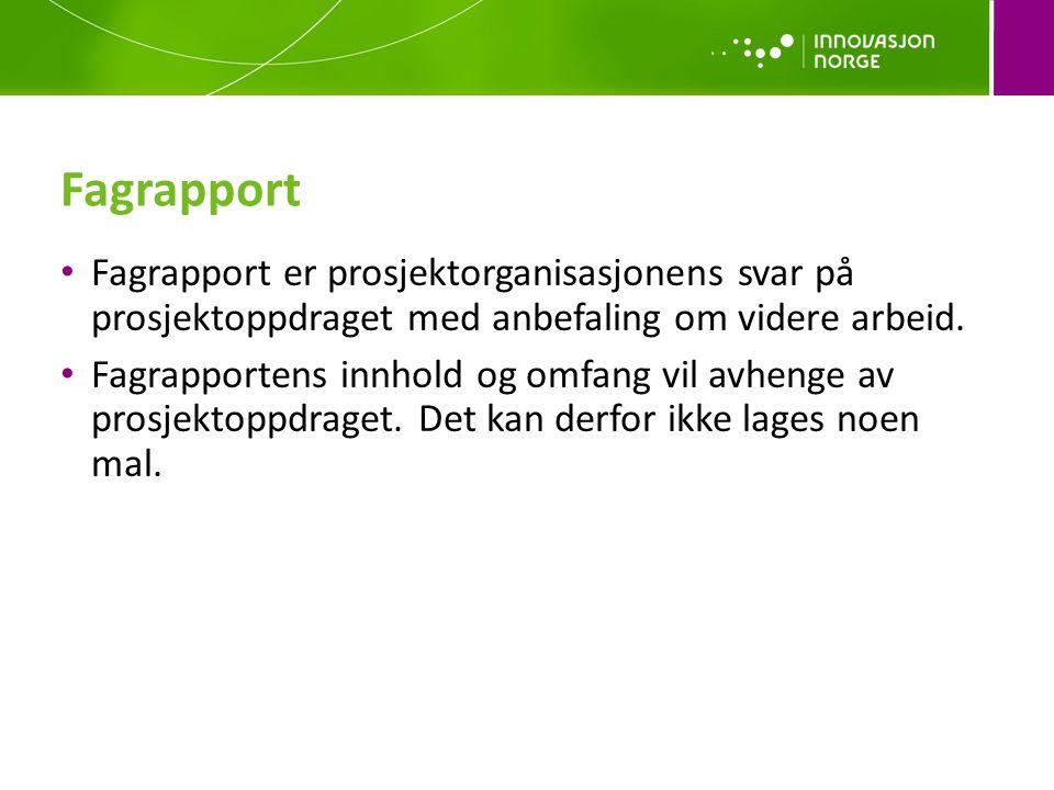 Fagrapport Fagrapport er prosjektorganisasjonens svar på prosjektoppdraget med anbefaling om videre arbeid.