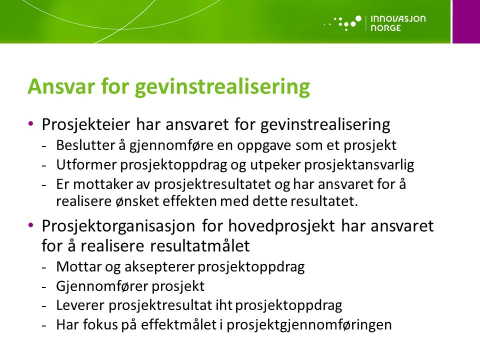 Ansvar for gevinstrealisering