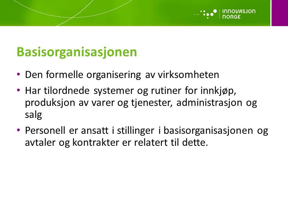 Basisorganisasjonen Den formelle organisering av virksomheten
