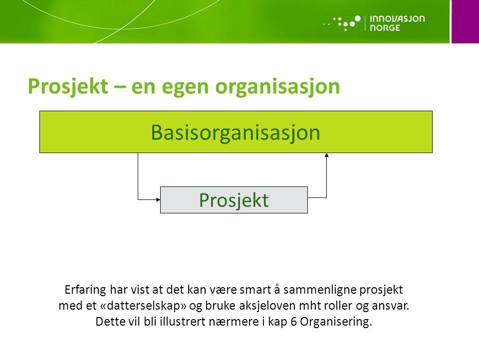 Prosjekt – en egen organisasjon