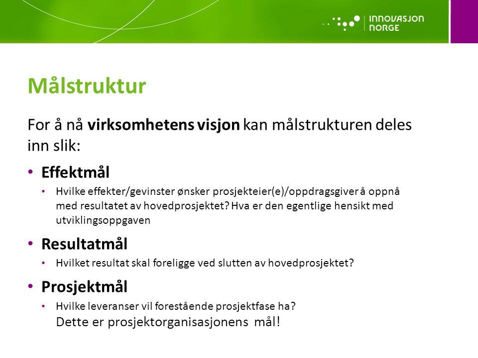 Målstruktur For å nå virksomhetens visjon kan målstrukturen deles inn slik: Effektmål.