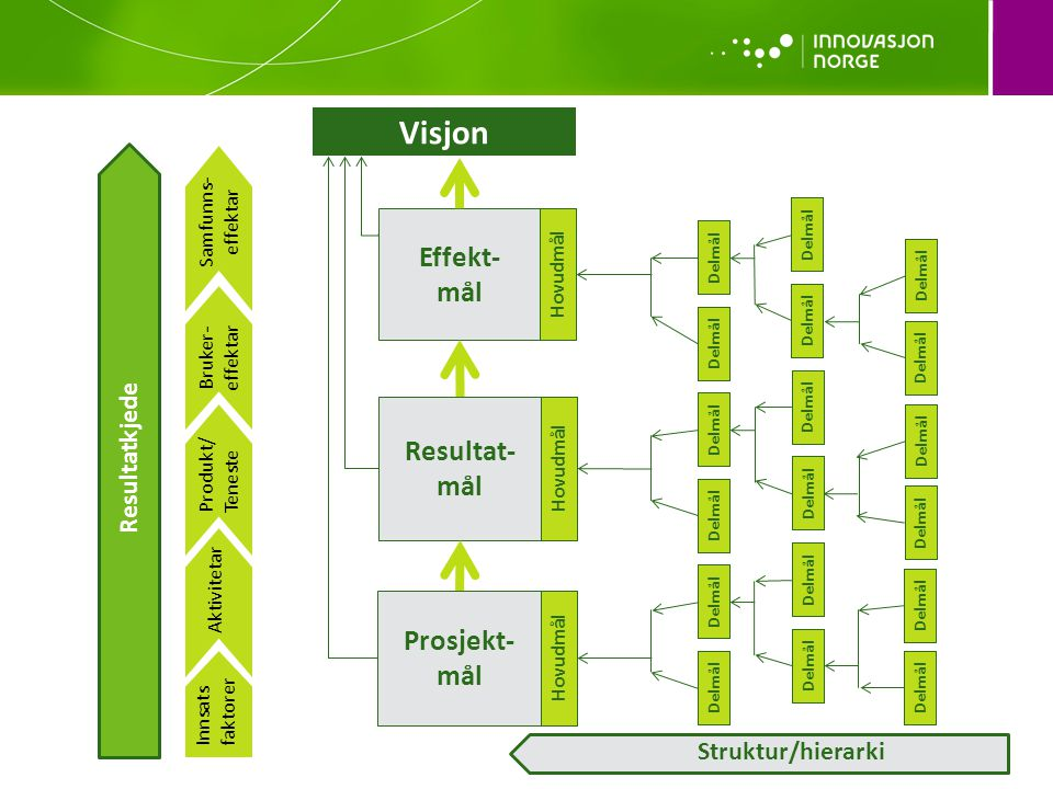 Visjon Effekt- mål Resultat-mål Prosjekt-mål Resultatkjede