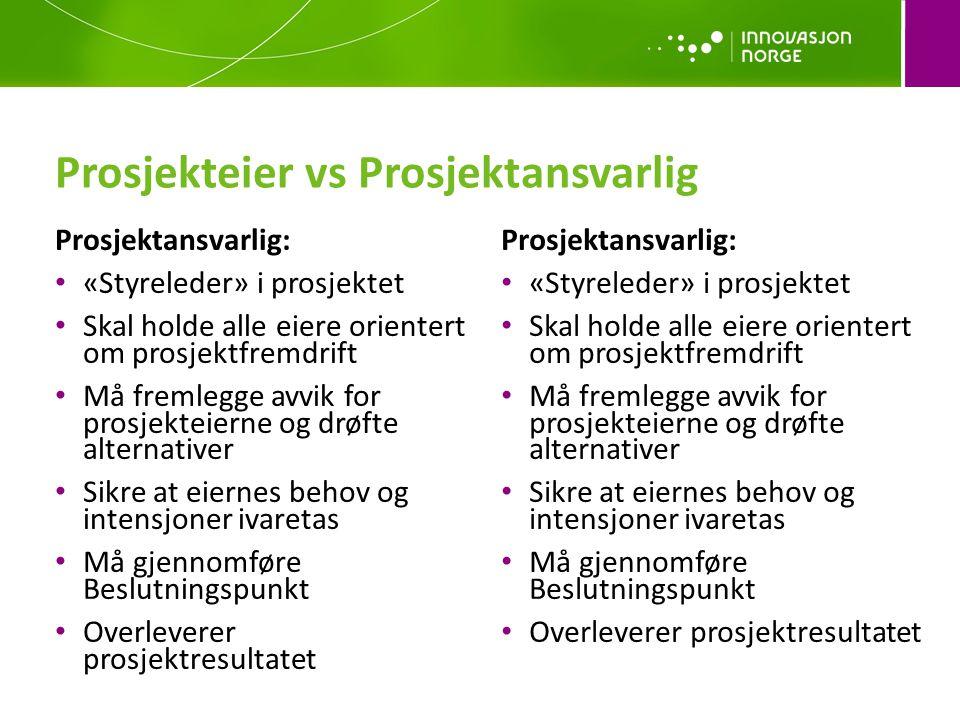 Prosjekteier vs Prosjektansvarlig