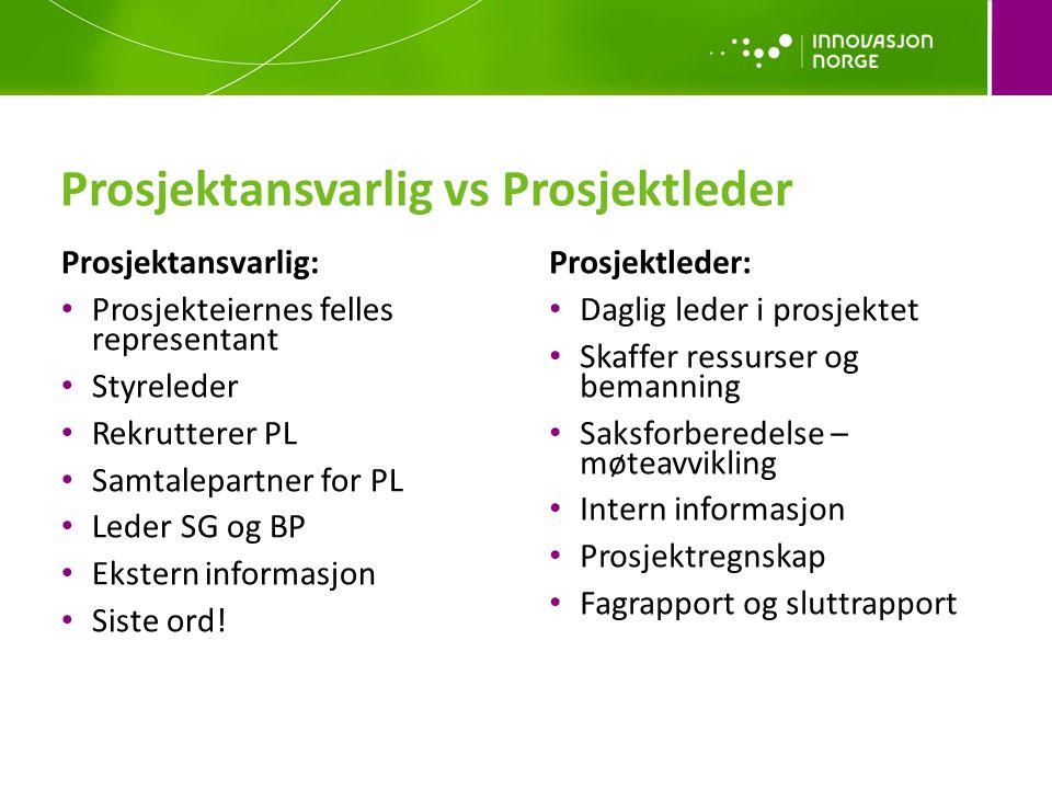 Prosjektansvarlig vs Prosjektleder