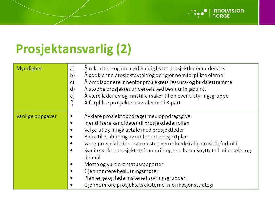 Prosjektansvarlig (2) Myndighet