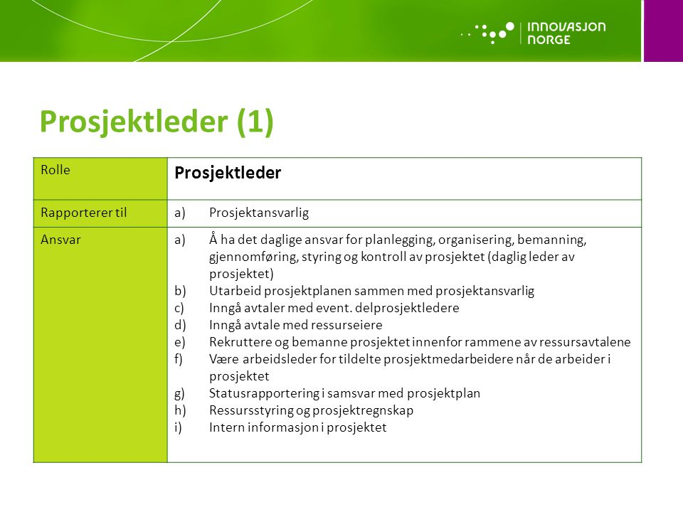 Prosjektleder (1) Prosjektleder Rolle Rapporterer til