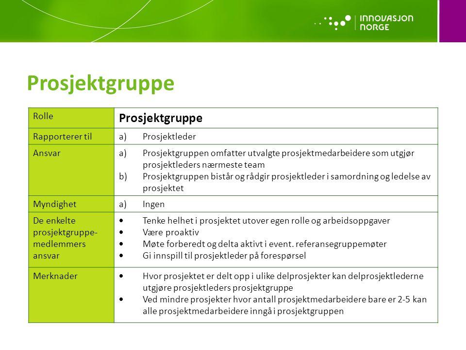Prosjektgruppe Prosjektgruppe Rolle Rapporterer til Prosjektleder