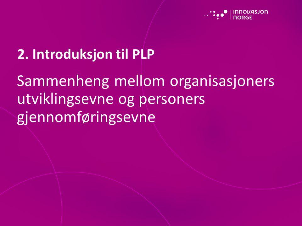 2. Introduksjon til PLP Sammenheng mellom organisasjoners utviklingsevne og personers gjennomføringsevne.