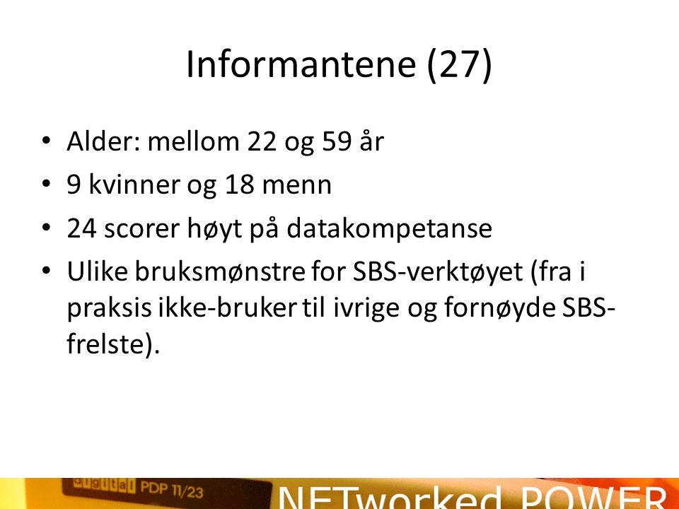 Informantene (27) Alder: mellom 22 og 59 år 9 kvinner og 18 menn