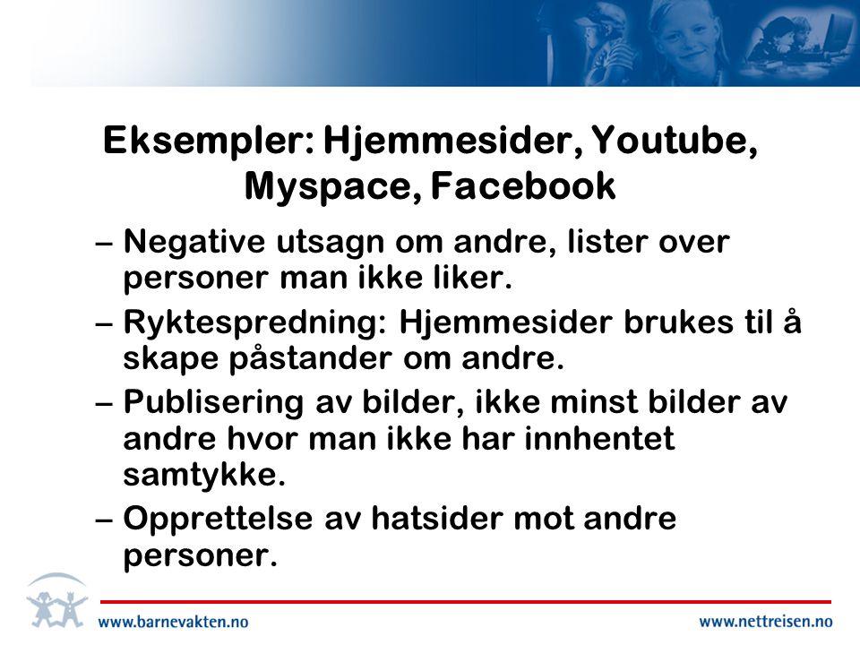 Eksempler: Hjemmesider, Youtube, Myspace, Facebook