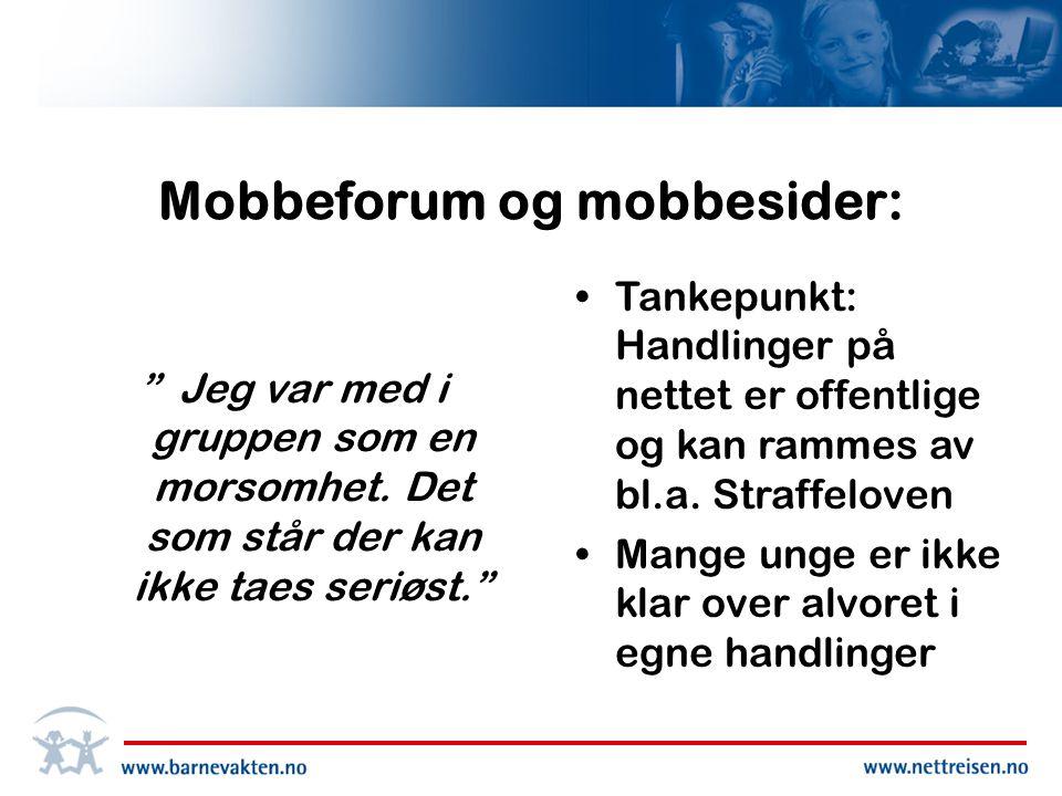 Mobbeforum og mobbesider: