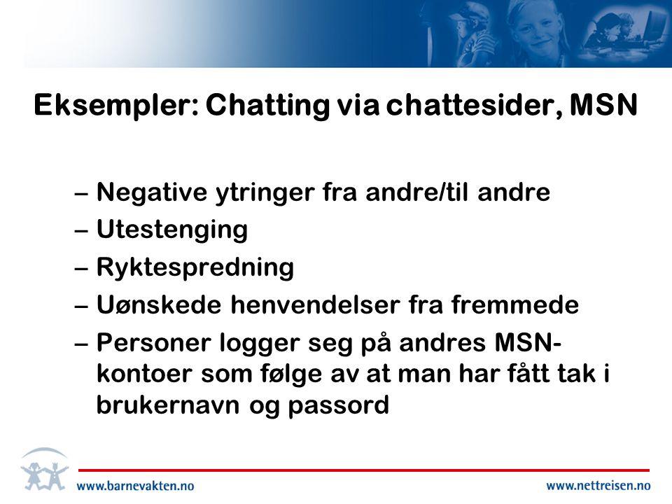 Eksempler: Chatting via chattesider, MSN