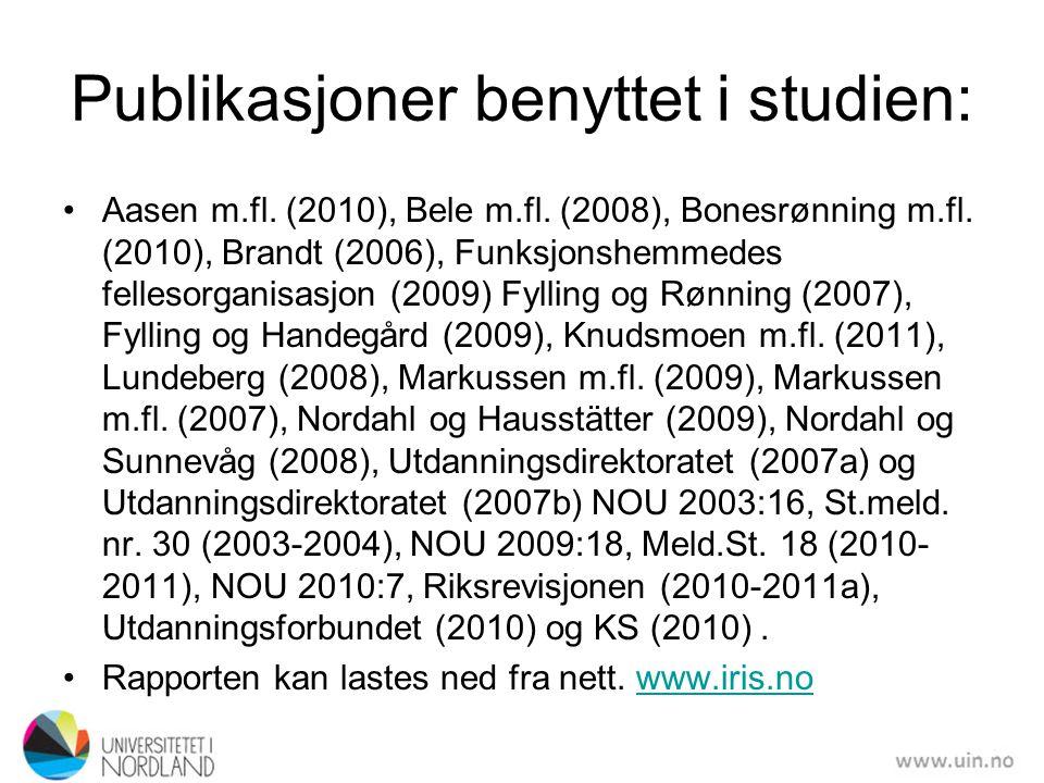 Publikasjoner benyttet i studien: