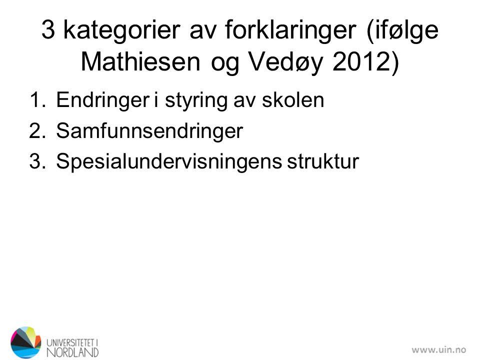3 kategorier av forklaringer (ifølge Mathiesen og Vedøy 2012)