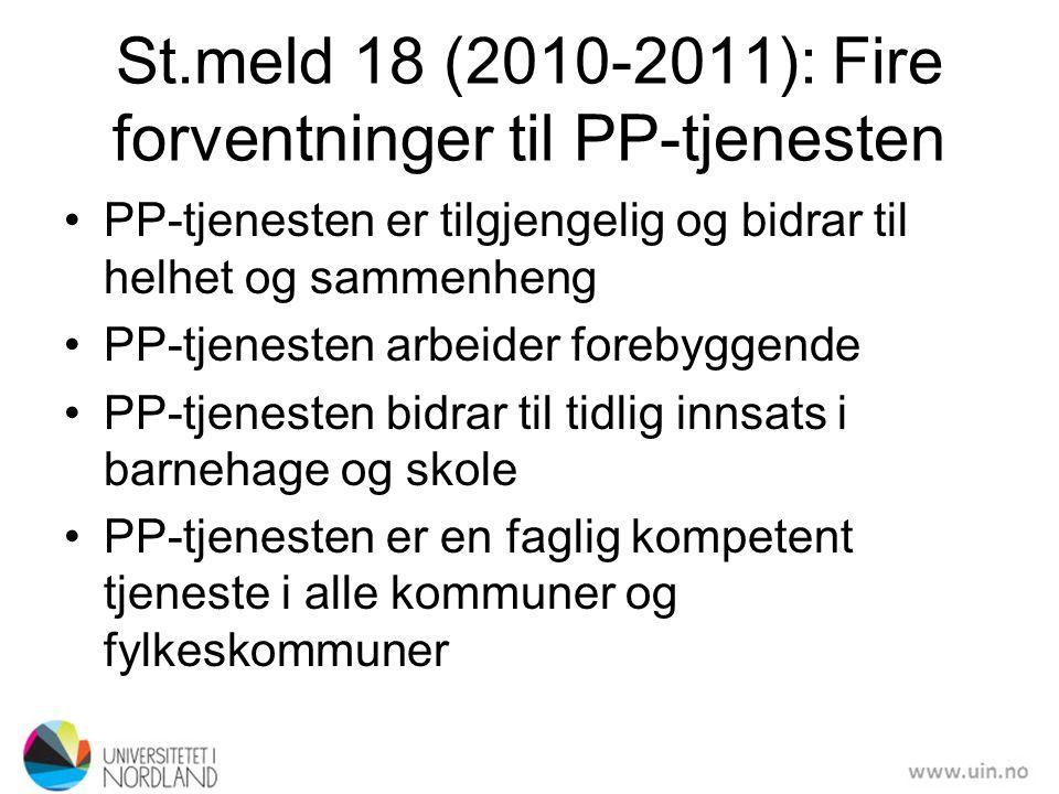 St.meld 18 (2010-2011): Fire forventninger til PP-tjenesten