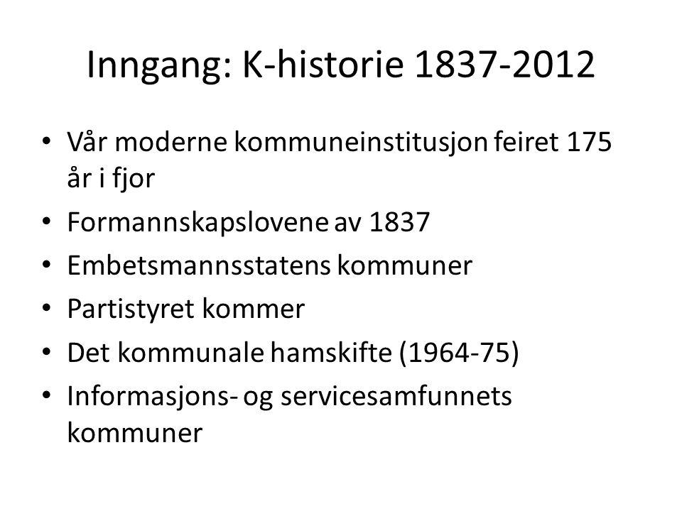 Inngang: K-historie 1837-2012 Vår moderne kommuneinstitusjon feiret 175 år i fjor. Formannskapslovene av 1837.