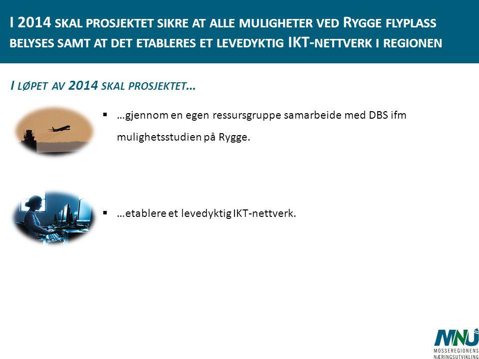 I 2014 skal prosjektet sikre at alle muligheter ved Rygge flyplass belyses samt at det etableres et levedyktig IKT-nettverk i regionen