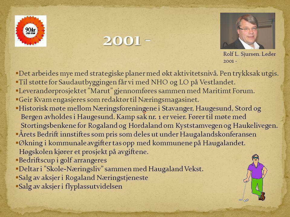 2001 - Rolf L. Sjursen. Leder 2001 - Det arbeides mye med strategiske planer med økt aktivitetsnivå. Pen trykksak utgis.