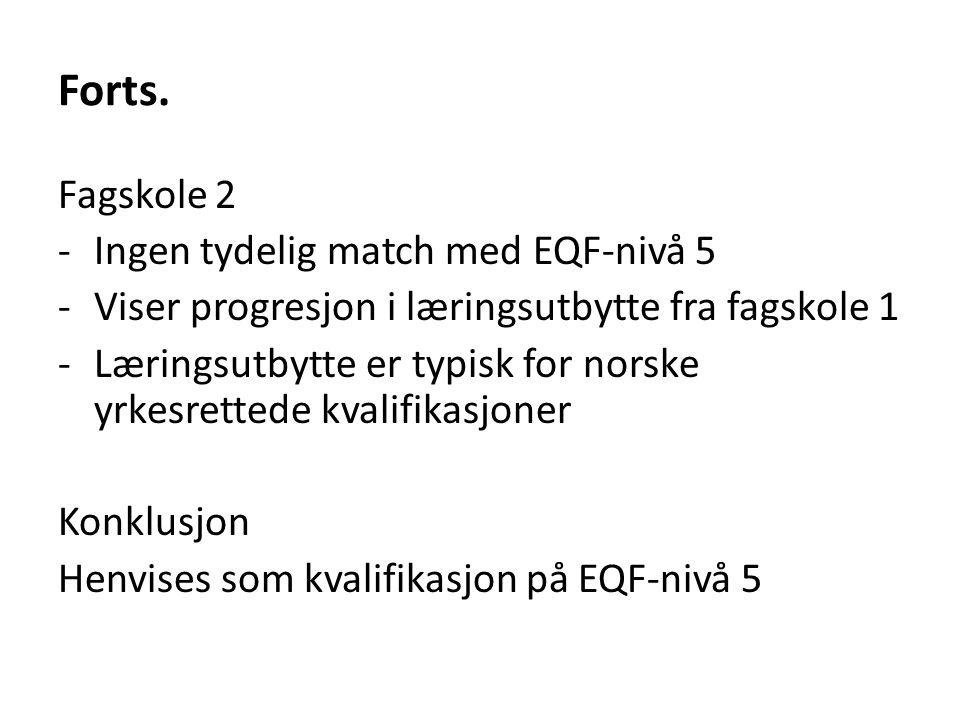 Forts. Fagskole 2 Ingen tydelig match med EQF-nivå 5