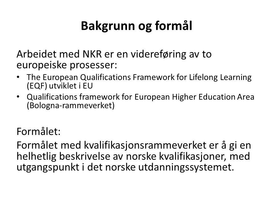 Bakgrunn og formål Arbeidet med NKR er en videreføring av to europeiske prosesser: