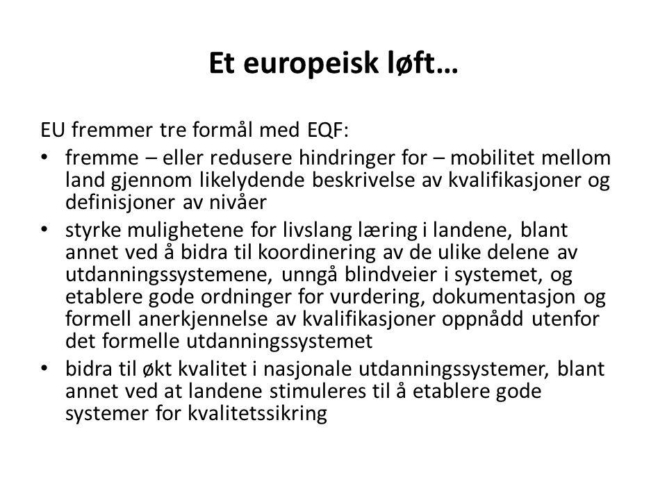 Et europeisk løft… EU fremmer tre formål med EQF: