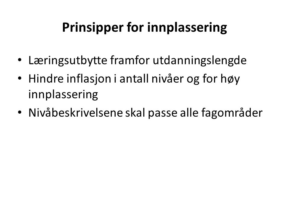 Prinsipper for innplassering