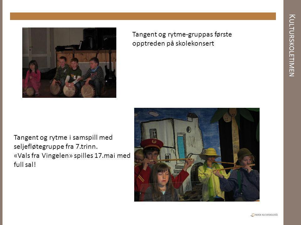 Kulturskoletimen Tangent og rytme-gruppas første opptreden på skolekonsert. Tangent og rytme i samspill med seljefløtegruppe fra 7.trinn.