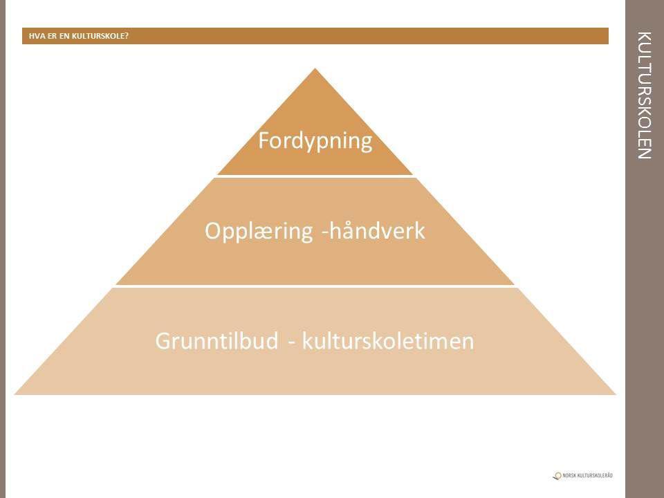 Norsk kulturskoleråd ser kulturskoletilbudet definert som i alle fall tre hovedkategorier; Grunntilbud (for eksempel kulturskoletimen) Opplæringstilbud (som kjennetegnes ved at det er spesifikke ferdigheter som skal læres og utvikles, og et fordypningstilbud for de elever som har spesielle interesser og forutsetninger.