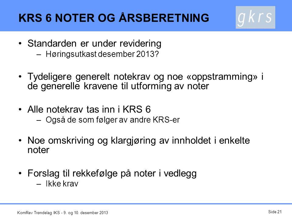 KRS 6 NOTER OG ÅRSBERETNING
