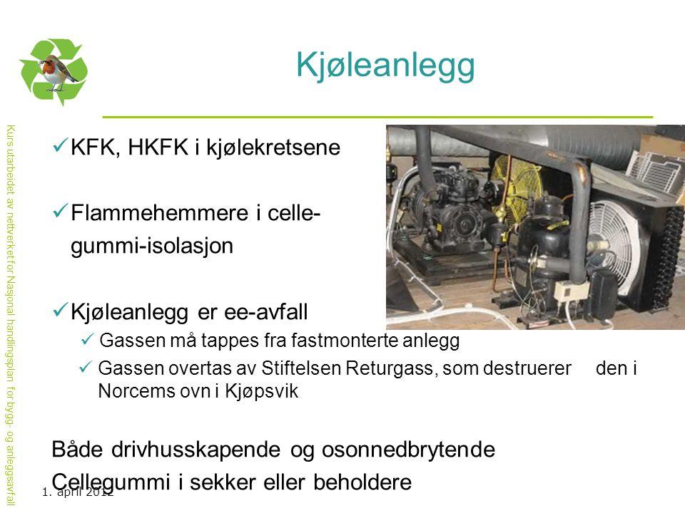 Kjøleanlegg KFK, HKFK i kjølekretsene Flammehemmere i celle-