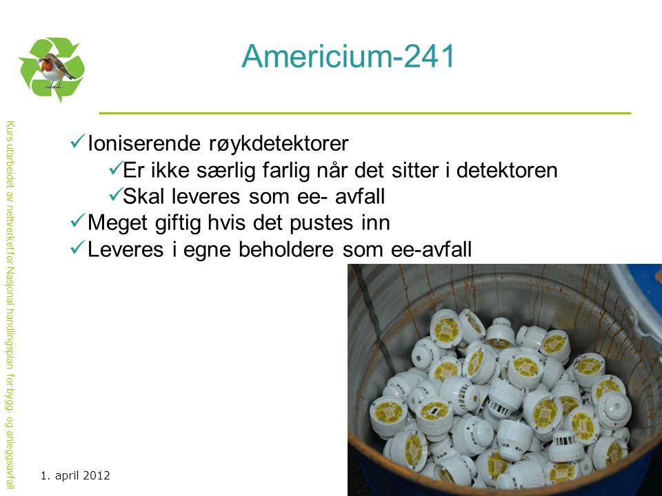 Americium-241 Ioniserende røykdetektorer