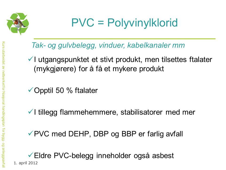PVC = Polyvinylklorid Tak- og gulvbelegg, vinduer, kabelkanaler mm