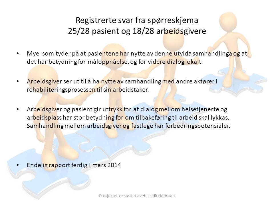 Registrerte svar fra spørreskjema 25/28 pasient og 18/28 arbeidsgivere