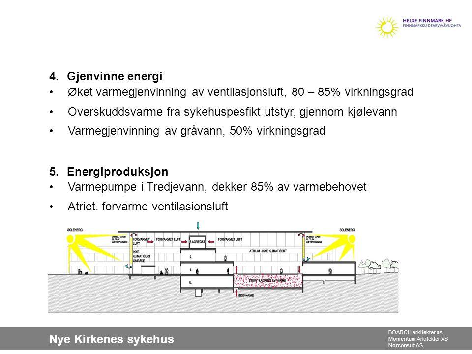 4. Gjenvinne energi Øket varmegjenvinning av ventilasjonsluft, 80 – 85% virkningsgrad. Overskuddsvarme fra sykehuspesfikt utstyr, gjennom kjølevann.