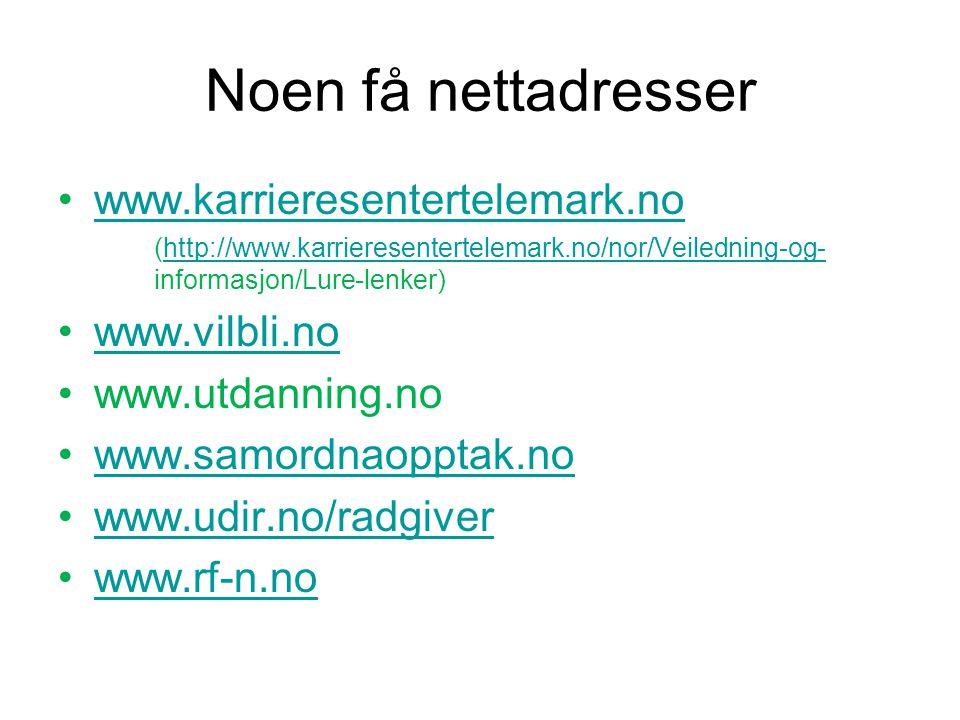 Noen få nettadresser www.karrieresentertelemark.no www.vilbli.no