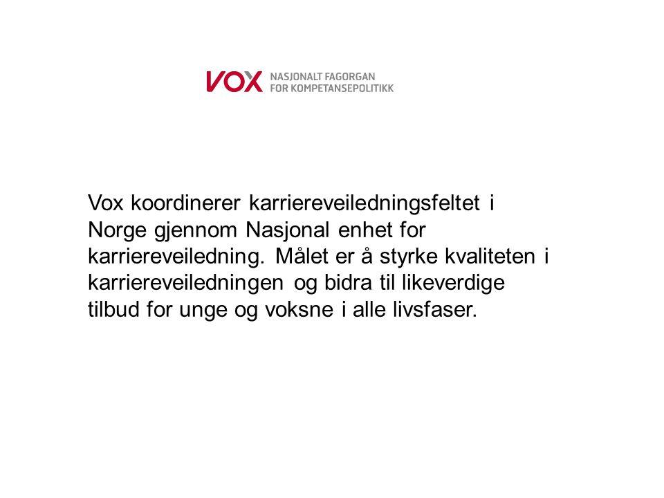 Vox koordinerer karriereveiledningsfeltet i Norge gjennom Nasjonal enhet for karriereveiledning.