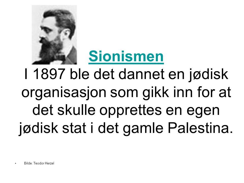 Sionismen I 1897 ble det dannet en jødisk organisasjon som gikk inn for at det skulle opprettes en egen jødisk stat i det gamle Palestina.