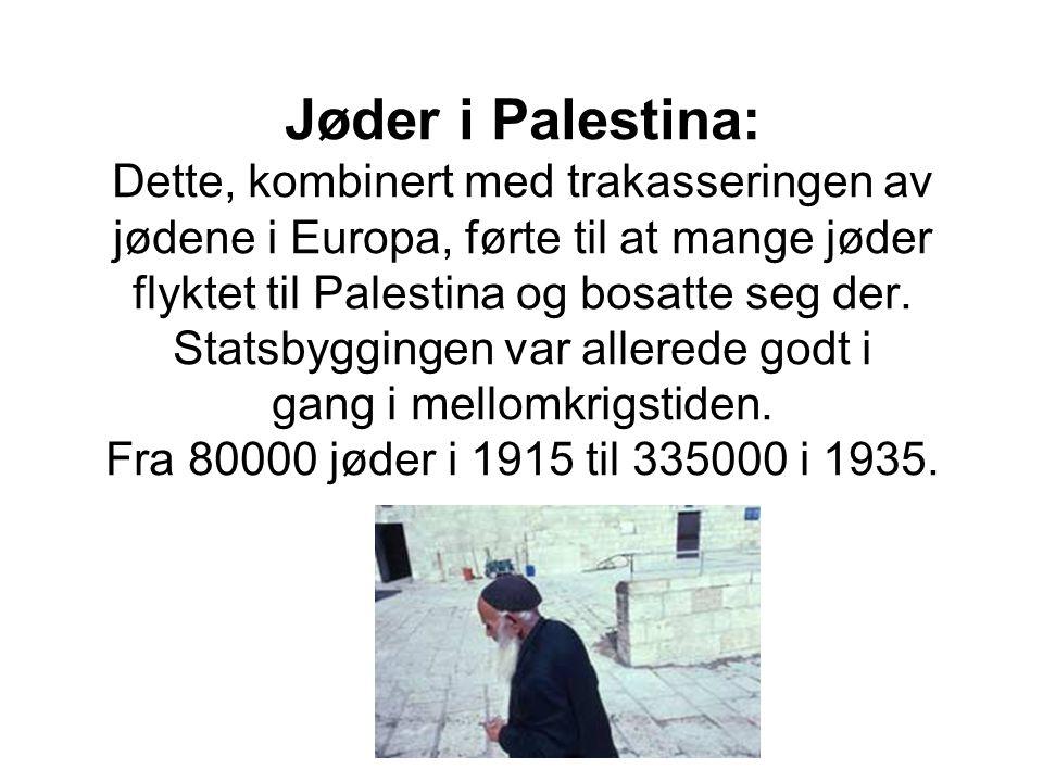 Jøder i Palestina: Dette, kombinert med trakasseringen av jødene i Europa, førte til at mange jøder flyktet til Palestina og bosatte seg der.
