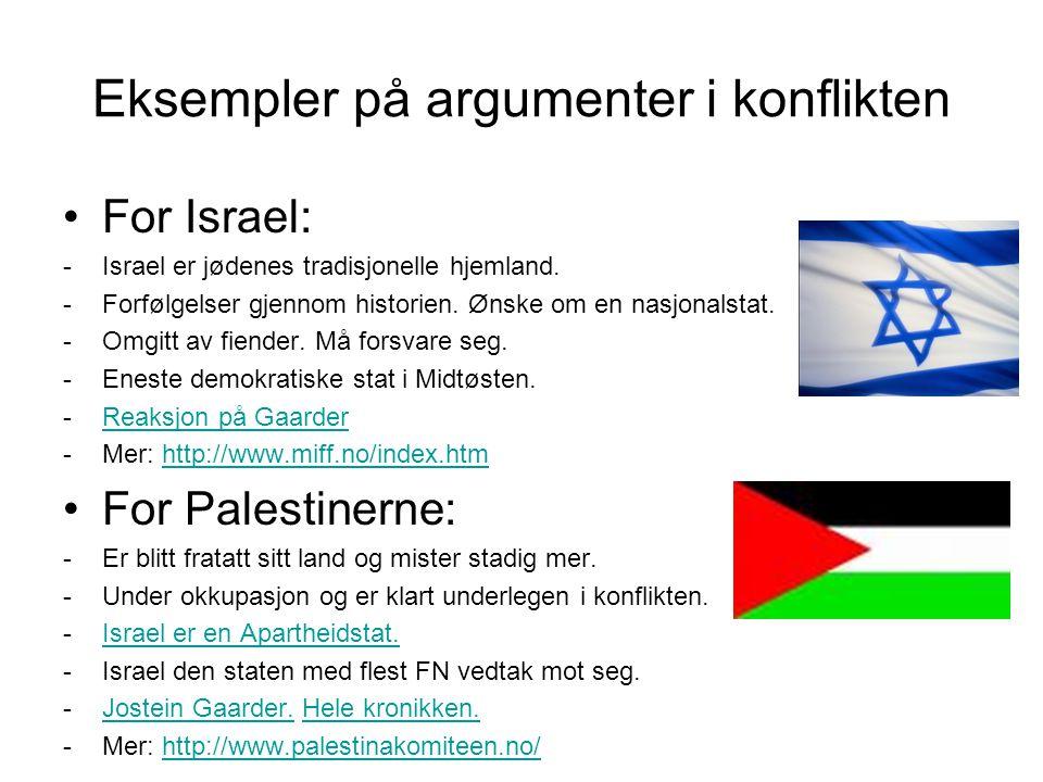 Eksempler på argumenter i konflikten