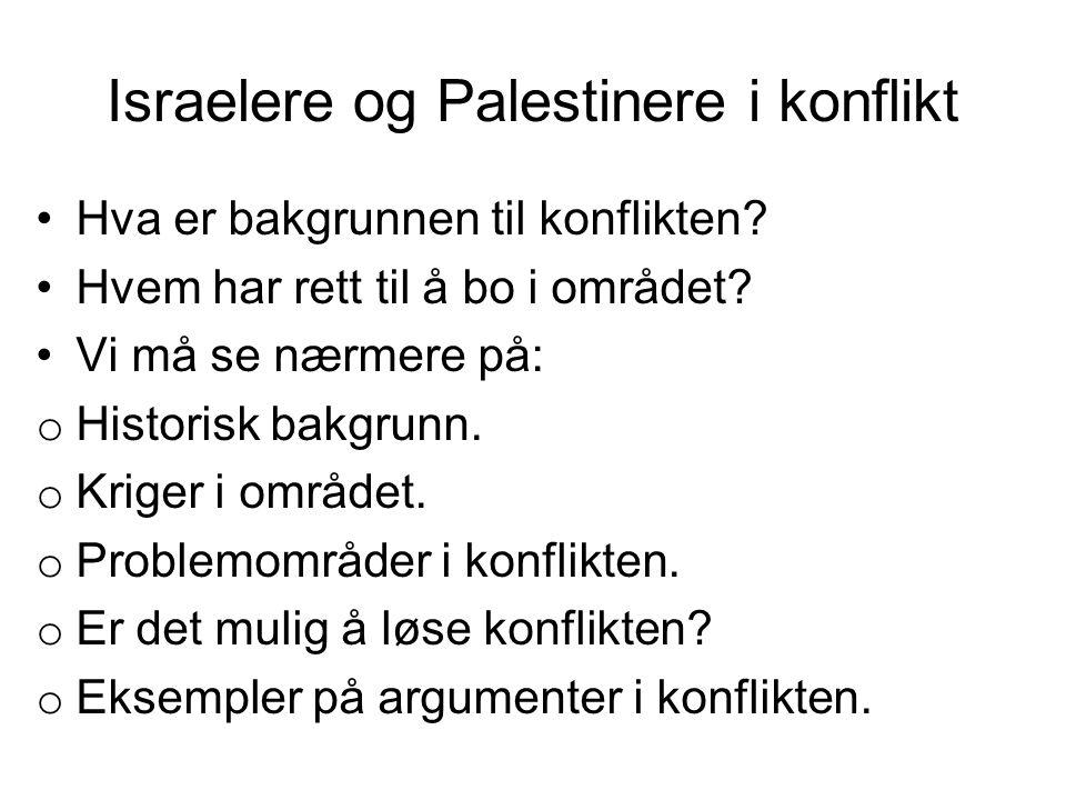Israelere og Palestinere i konflikt