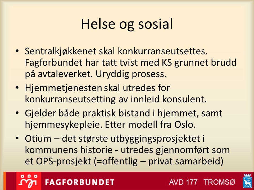 Helse og sosial Sentralkjøkkenet skal konkurranseutsettes. Fagforbundet har tatt tvist med KS grunnet brudd på avtaleverket. Uryddig prosess.