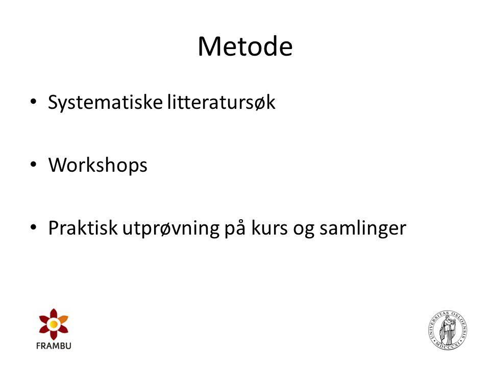 Metode Systematiske litteratursøk Workshops