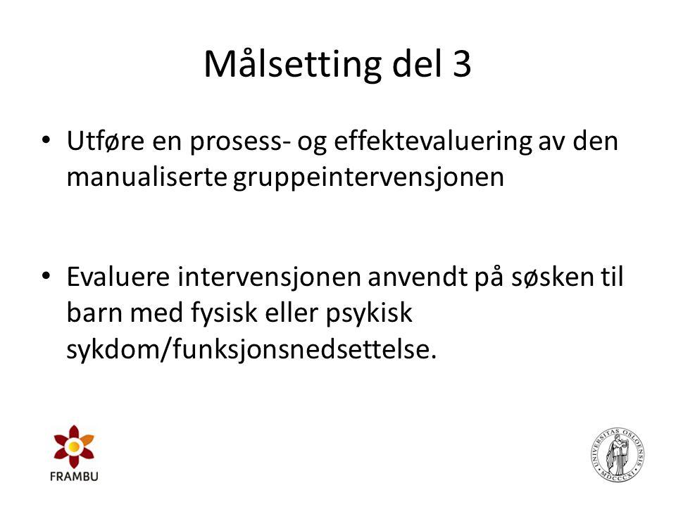 Målsetting del 3 Utføre en prosess- og effektevaluering av den manualiserte gruppeintervensjonen.