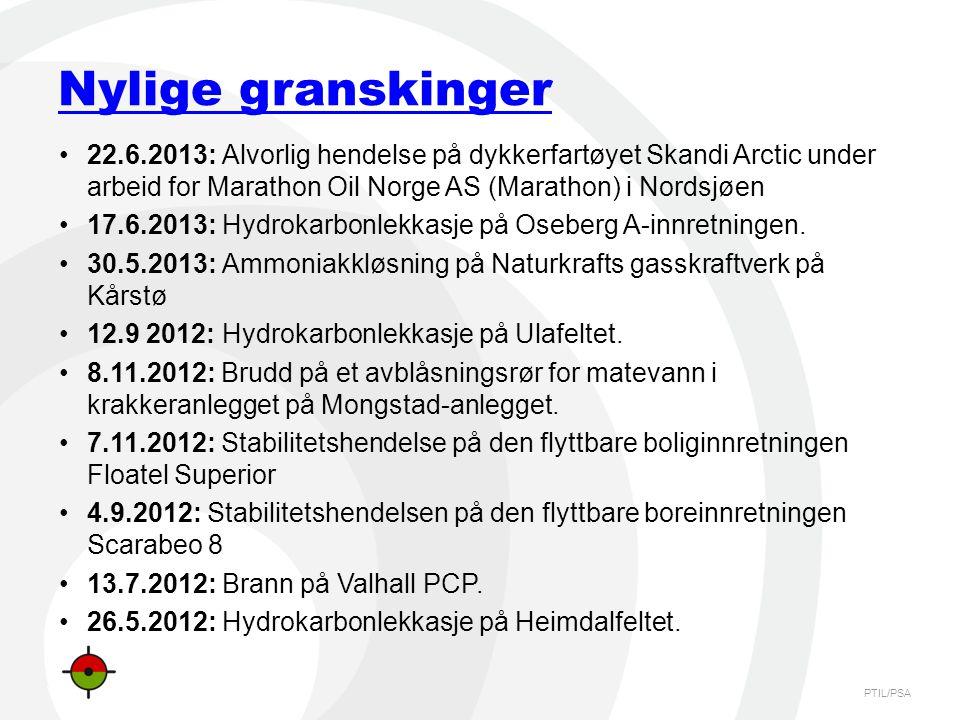 Nylige granskinger 22.6.2013: Alvorlig hendelse på dykkerfartøyet Skandi Arctic under arbeid for Marathon Oil Norge AS (Marathon) i Nordsjøen.