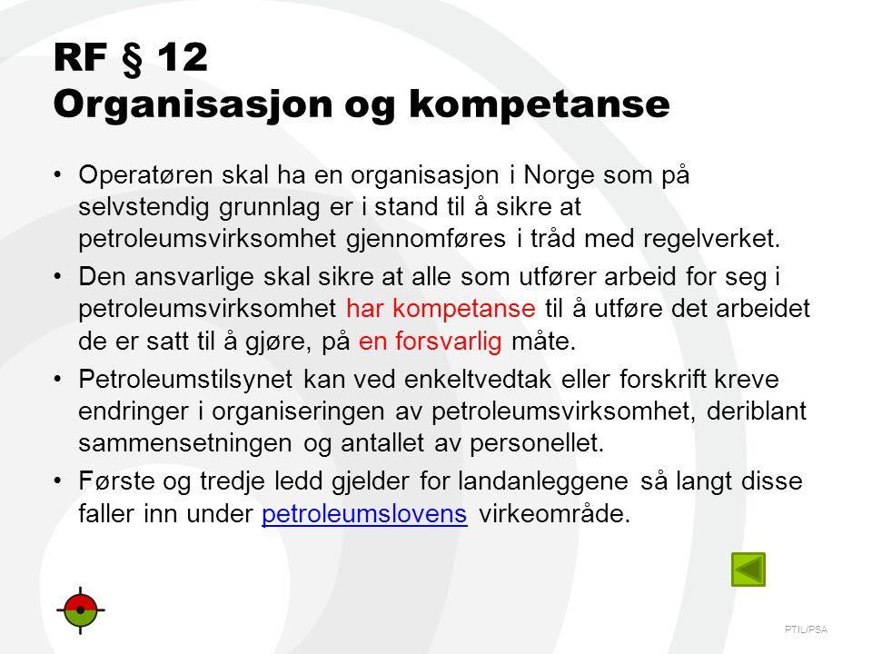 RF § 12 Organisasjon og kompetanse