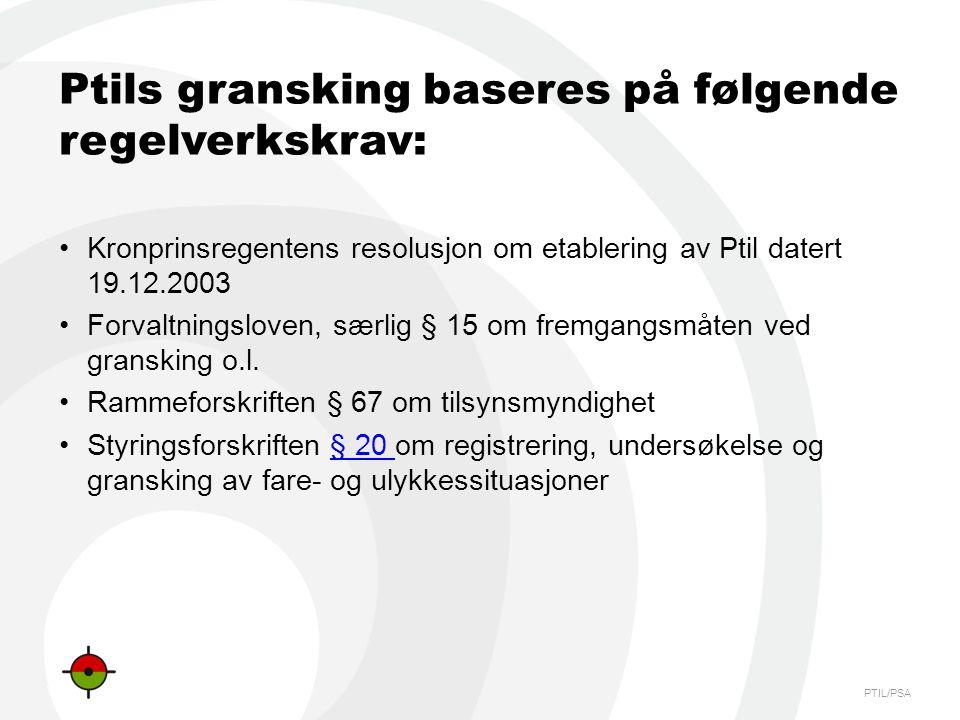 Ptils gransking baseres på følgende regelverkskrav: